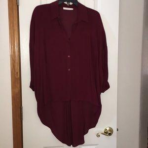 Burgundy sheer blouse